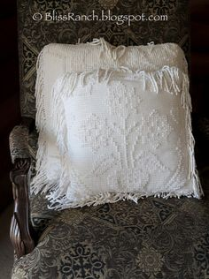 Pillows made from vintage bedspread