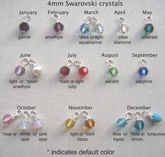 3f3cb8c5f24f Birthstone charm bead add on - Made with 4mm Swarovski® Birthstone crystal  - Listing for ONE Round or Bicone crystal charm