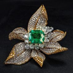 Boylerpf Antique Vintage Jewelry How does your garden grow? Dramatic life-size flower brooch by Fred. Set with a 50 carat emerald, wide. Magnificent Jewels, New York at High Jewelry, Jewelry Art, Silver Jewelry, Jewelry Design, Jewellery, Silver Rings, Fashion Jewelry, Jewelry Armoire, Antique Jewelry