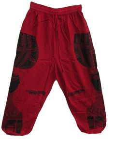 Amazon.com: Hippie Boho Gypsy Indian Ethnic Palazzo Pants Batik Red Gold Trouser Gauchos: Clothing