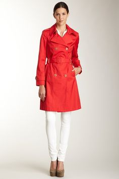 Calvin Klein Trench with Belt. Love red coats! I have 1 trench and 1 pea coat. <3