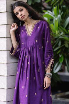 Party Suits, Purple Fabric, Purple Gold, Custom Made, Sequins, Neckline, Shirt Dress, Kurtis, Sleeves