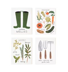 Rifle Paper Co. - Homegrown Garden Set of 8 Folded Cards, 2 of Each Design