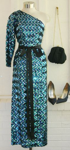 Circa 1970s - Cocktail Dress - Blue Zig-Zag Sequined - Party - Prom - Wiggle Dress