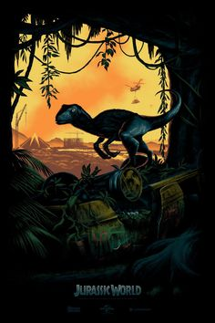 Teaser Poster for Jurassic World by Mark Englert - these raptors need 100% more feathers I mean COME ON