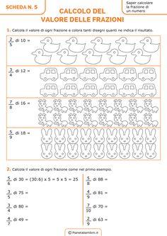 Schede didattiche ed esercizi da stampare sulle frazioni per la quarta e quinta classe della scuola primaria: frazioni equivalenti, complementari, decimali, proprie, improrie e apparenti