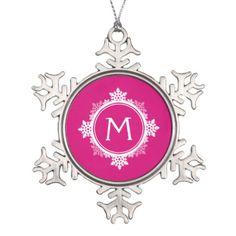 Snowflake Wreath Monogram in Fuchsia Pink & White Ornament