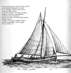 KATTEGAT fra 1881 var bygget til kvasefart og garnfiskeri. Blandt handelskvaserne hørte den med sine 9,07 BRT til de små. Tegning af Erik Laursen.