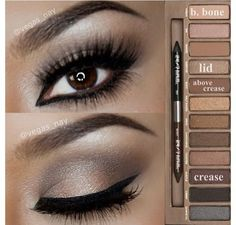 Steps Using Urban Decay Naked Palette. Minus all the eyeliner. Urban Decay Palette, Naked Palette, Eye Palette, Naked2 Palette Looks, Eyeshadow Palette, Urban Decay Smoky, Bronze Palette, Neutral Eyeshadow, Kiss Makeup