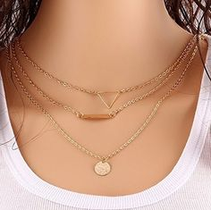 Nierstein Euner Thin Gold Chain / Dainty Set of Layered Necklaces with Bar, Triangle, Disc