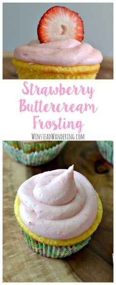 Fluffy, smooth, and wonderfully sweet, strawberry buttercream frosting is just the perfect topping for your favorite cake, cupcakes, or cookies.  The Ultimate Pinterest Party, Week 101