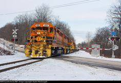 BPRR SIRI-04   Description:  The southbound Salamanca-Riker manifest passes a crossing a few miles north of Johnsonburg.   Photo Date:  1/4/2012  Location:  Streights, PA   Author:  Austin MacDougall  Categories:  Winter  Locomotives:  BPRR 453(SD45-2) BPRR 461(SD45-2) BPRR 458(SD45-2) BPRR 3330(SD40-3)