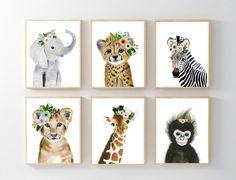 African Baby Animals Nursery Print Set 6 Safari Nursery Art Prints Animal Art Baby Elephant Giraffe Monkey Cheetah Lion Zebra by zuhalkanar on Etsy Baby Animal Nursery, Safari Nursery, Nursery Prints, Nursery Wall Art, Girl Nursery, Baby Animals, Safari Animals, Nursery Ideas, Nursery Canvas