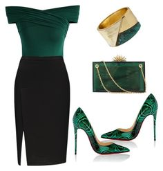 """Untitled #171"" by rexhepnuhiji ❤ liked on Polyvore featuring Chicwish, Robert Lee Morris, Christian Louboutin and Charlotte Olympia"