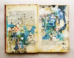 Czekoczyna - today I want to show you my new art-journal page that I made on my mixed-media classes last week in Warsaw. I love techniques used here and I was so happy to share them with my students. Layered stamping, stenciling and a lot of mists and paints. Can there be something better?