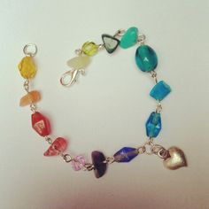 My Beautiful Crystal and Glass Bead Bracelet, Rainbows and Love