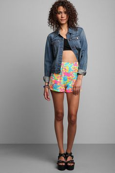 Vintage '80s Abstract Neon Print Short #urbanoutfitters #vintage