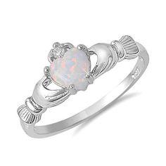 Pretty opal claddagh ring