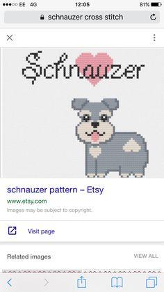 Schnauzer Mini Cross Stitch, Cross Stitch Embroidery, Cross Stitch Patterns, Perler Bead Art, Perler Beads, Schnauzers, Plastic Canvas Patterns, Dog Cat, Kawaii