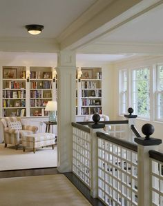 nice upstairs layout, library area, open