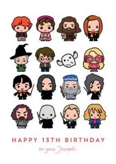 Harry Potter Ron Weasley Hermione Granger Luna Lovegood Dumbledore Hagrid Snape 13th Birthday Card