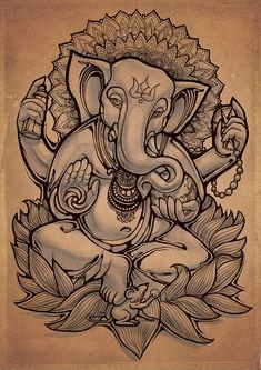 Ganesha by Fans Taknado Ganesha Drawing, Lord Ganesha Paintings, Ganpati Drawing, Ganesha Tattoo Lotus, Lotus Tattoo, Tattoo Ink, Sleeve Tattoos, Arte Ganesha, Indian Art Paintings