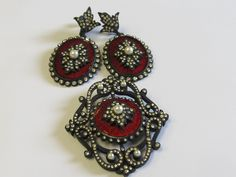 Vendome Black Japanned Rhinestone, Faux Pearls and Red Glass Enamel Brooch and Earrings by Lavendergems on Etsy
