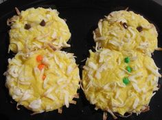 (Don't Eat The) Yellow Snowman Cookies. Lemon cake mix & coconut. 2 sizes of dough touching to bake - 24 snowmen
