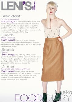 Leni's Model Management Food Diaries NNEKA Egg Omelet, Complex Carbs, Model Diet, Food Diary, Midi Skirt, Ballet Skirt, Diaries, Management, Training