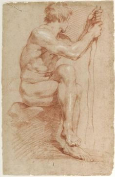Gian Lorenzo Bernini, Italian, 1598–1680: Seated Male Nude, ca. 1618–24. Red chalk, heightened with white, on buff laid paper. | 500 Years of Italian Master Drawings from the Princeton University Art Museum exhibit