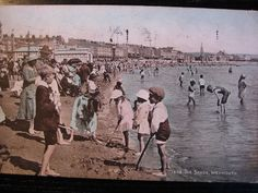 The Sands, Weymouth, Dorset - posted 1924 (hand coloured) - children