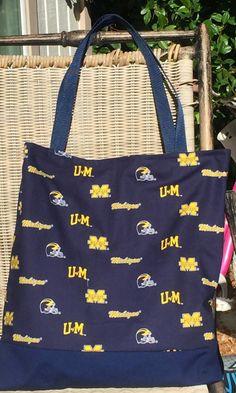 Michigan Football, University of Michigan, Tote Bag, Purse, Football, Sports, Custom Shopping Bag, lined Cotton Market Bag, web straps by designsbyfancyrose on Etsy