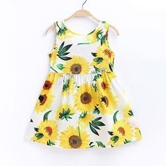 Beautiful Sunflower Pattern Sleeveless Dress for Baby and Toddler Girls Toddler Flower Girl Dresses, Toddler Dress, Toddler Outfits, Toddler Girls, Kids Girls, Baby Girls, Casual Styles, Girls Summer Outfits, Girl Outfits