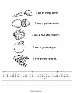 Color the fruits and vegetables worksheet twisty noodle - 1000 Images About Nov Food Unit On Pinterest