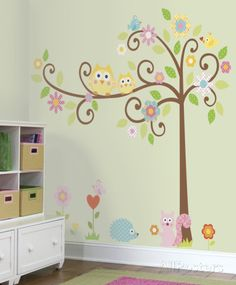Butterflies and Tweety Birds Rainbow Large Nursery Wall Sticker Decoration Wall