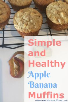 A simple and healthy muffin recipe! Combining two of my favorite muffins together to make an even better muffin! The banana's adding a natural sweetener, along with the apples, allowing for reduced sugar. These muffins are healthy enough to eat for breakfast.