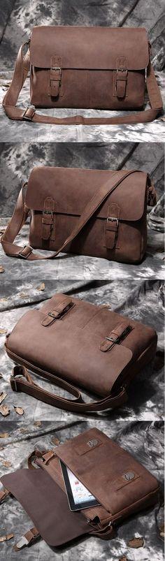 """Arrogance Crazy Horse Leather Hard Briefcase Messenger 13"""" 15"""" Macbook Laptop Bag Valentine's Gift"""
