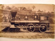 "Really cool photograph from 1871 of the steam locomotive ""A.D. Lockwood.""  (Maine Historical Society)"