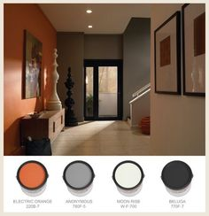 Warm traditional interior paint color palette with \