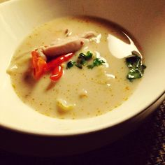 Tom Kha Gai - Chicken in Thick Coconut Soup: One of the Signature Thai specials at the Authentic Royal Thai Restaurant Benjarong #Benjarong #Thai #Cuisine #DusitThaniMV #Maldives #best #food