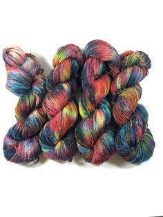 Merino Tweed Sock hand dyed yarn Superwash merino by HauteKnitYarn