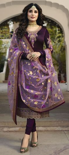 Bollywood Purple and Violet color Salwar Kameez in Georgette fabric with Churidar, Straight Embroidered, Stone, Thread, Zari work : 1567655 Designer Salwar Kameez, Designer Kurtis, Indian Salwar Kameez, Anarkali, Salwar Dress, Churidar Suits, Punjabi Salwar Suits, Saree Blouse, Purple