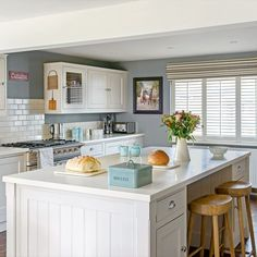 Grey country kitchen with tongue and groove units