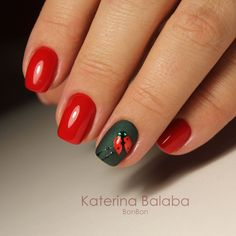 Lady bird, red and black, shine and matt finish nails