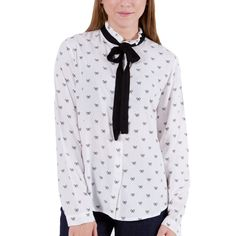 1b737b275359 ATTRATTIVO Γυναικείο ασπρόμαυρο μακρυμάνικο πουκάμισο