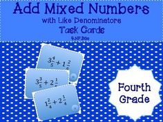 Grade 4 - Add Mixed Numbers with Like Denominators - Task Cards Science Resources, Classroom Resources, Math Activities, Teaching Resources, Elementary Teacher, Upper Elementary, Math Task Cards, Fourth Grade Math, Student Teaching