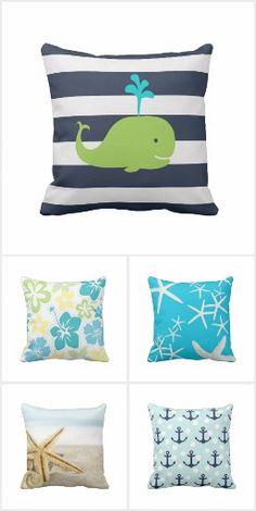 Blue Nautical Beach Throw Pillows