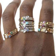 Birthstone Stacking Ring Gemstone Ring Mothers Ring Gold | Etsy Peridot, Amethyst, Birthstone Stacking Rings, Multiple Rings, Skinny Rings, Mother Rings, Gold Filled Jewelry, Bridal Rings, Lapis Lazuli