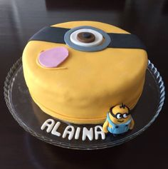 Minion Cake - chocolate cake layered with Lindt dark chocolate mousse