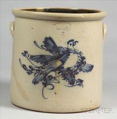 West Troy Five-Gallon Stoneware Crock with Three Cobalt Blue Birds